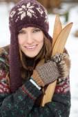 Retro skier outdoor portrait — Stock Photo