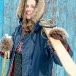 Ski woman over vintage blue — Stock Photo #61958743