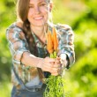 Gardener with bunch of carrots — Stock Photo #63721547