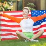 Woman with national usa flag — Stock Photo #69592875