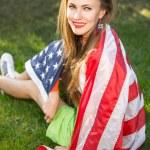 Woman with national usa flag — Stock Photo #69592923