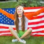 Woman with national usa flag — Stock Photo #69592927