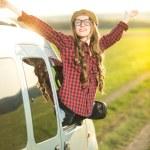 Happy woman driver — Stock Photo #71618271