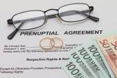 Prenuptial Agreement with wedding rings — Stock Photo