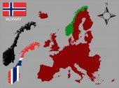 Noorwegen - twee contouren, kaart van Europa en vlag vector — Stockvector