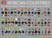 45 African countries, A-Z Names,Flags,Contour and national flag over contour — Stock vektor