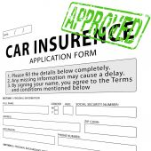 Car insurance application form with green approved rubber stamp — Stockfoto