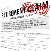 Retirement claim application form with red rejected rubber stamp — Stock Photo