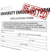 University enrollment form with red rejected rubber stamp — Stock Photo