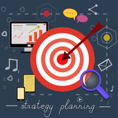 Strategy planning icons with bright pictures — Stock Vector