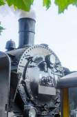 Front view of a steam locomotive — Stock Photo