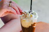 Iced coffee, coffee, ice cream, cream, — Stock Photo