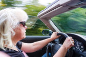 Beautiful Woman Driving Convertible Car — Stock Photo