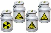 Four barrels with hazardous waste. — Stock Photo
