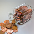 Glass with cent pieces — Stock Photo #64816503