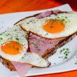 Two fried eggs on bread — Stock Photo #65516203