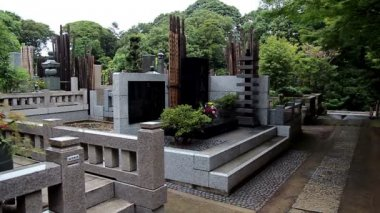 Burial place of the founder of Kyokushin Karate Mas Oyama. Tokyo. Japan. — Stock Video