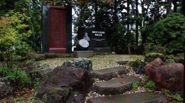 Sosai Masutatsu Oyama's Monument. Mitsumine Shrin. e. Kyokushin Karate. — Stockvideo