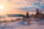 Winter  sunset  Christmas  landscape — Stock Photo