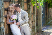 Blond bride  and  groom  in  nature — Stock Photo