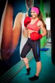 Woman red boxing gloves — Stock Photo