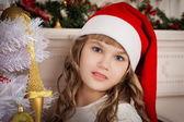 Christmas  face  girl red cap — Stock Photo