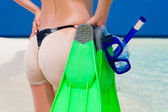 Maldives, ass, flippers, mask and tube  — Stock Photo