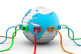 Network cables connected the globe — Stockfoto