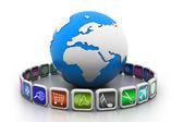 Globe with app symbols — Stock Photo