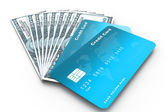Credit cards and money — Stock Photo