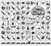 Car parts, tools and accessories — Stock Vector