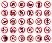 Set of prohibiting signs — Stock Vector