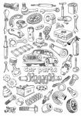 Car parts in freehand drawing style — Stock Vector