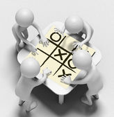 Funny characters talk over sheet with noughts and crosses — Stock Photo