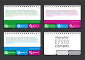 Set of infographics elements in the form of a jotter with tabs — Stock Vector