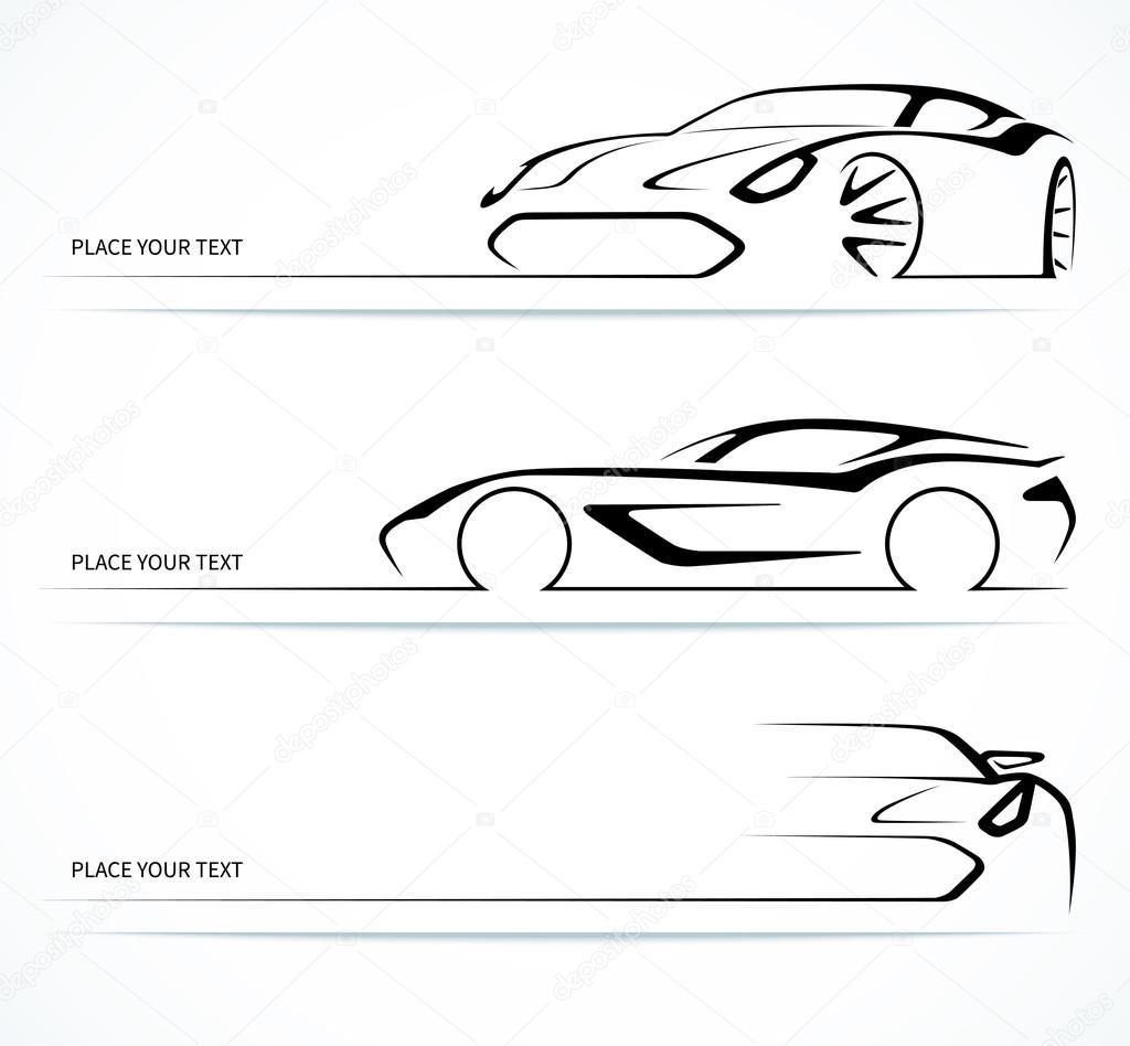 Conjunto de siluetas de coche lineal abstracto vector de for Disegni di garage gratis