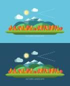 Flat design autumn nature landscape illustrations — Stock Vector