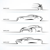 Set of modern car silhouettes. — Stockvector