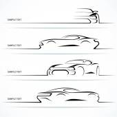 Set of modern car silhouettes. — Vector de stock