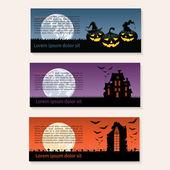 Zestaw trzech banery halloween — Wektor stockowy