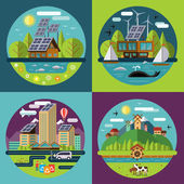 Set of vector flat ecology concept illustrations — Stock Vector