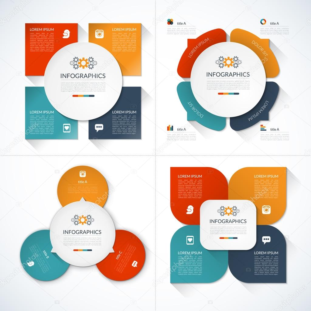 Set of modern minimal infographic design templates — Stock Vector ...