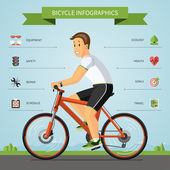 Cartoon man riding on a bike — Vector de stock