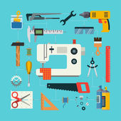 Handmade concept with icons of sewing, construction, repair, drafting items and tools. Flat design vector illustration — Stock Vector