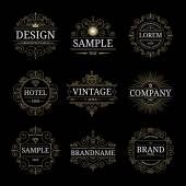 Set of vintage luxury logo templates — Stock Vector