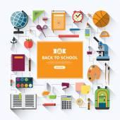 Back to school flat vector background — Stock Vector