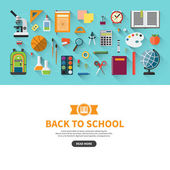 Back to school flat design vector banner with education icon set. School supplies : textbook, notebook, pen, pencil, paints, stationary, training aids, school bag, ball etc. Space for text — Stock Vector
