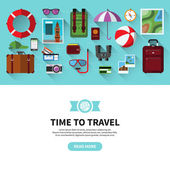 Time to travel. Flat design vector banner — Stock Vector