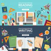 School and education, reading and writing concept banner set. Flat design vector illustration background — Stock Vector