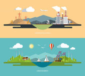 Ecology, environment, green energy, nature pollution concept illustrations set in flat design style — Stock Vector